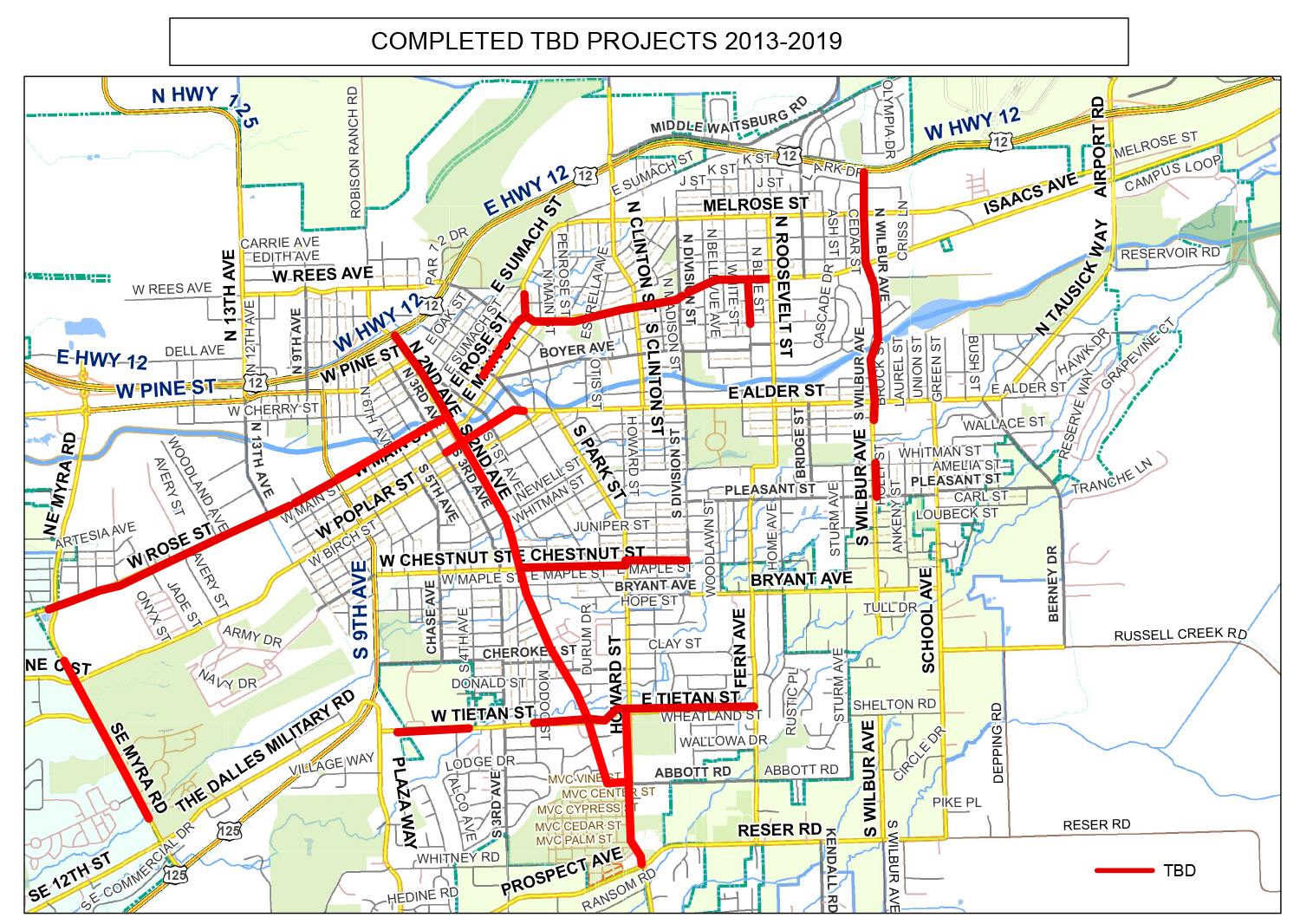 City of Walla Walla TBD projects from 2013-19