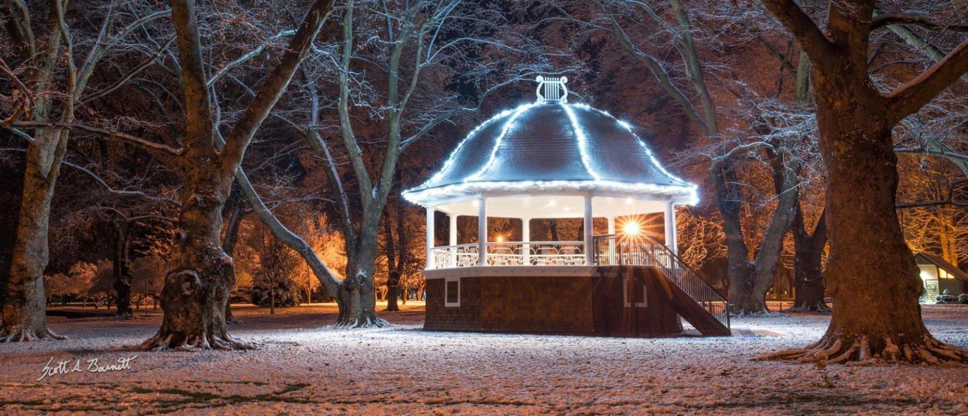 lit up gazebo